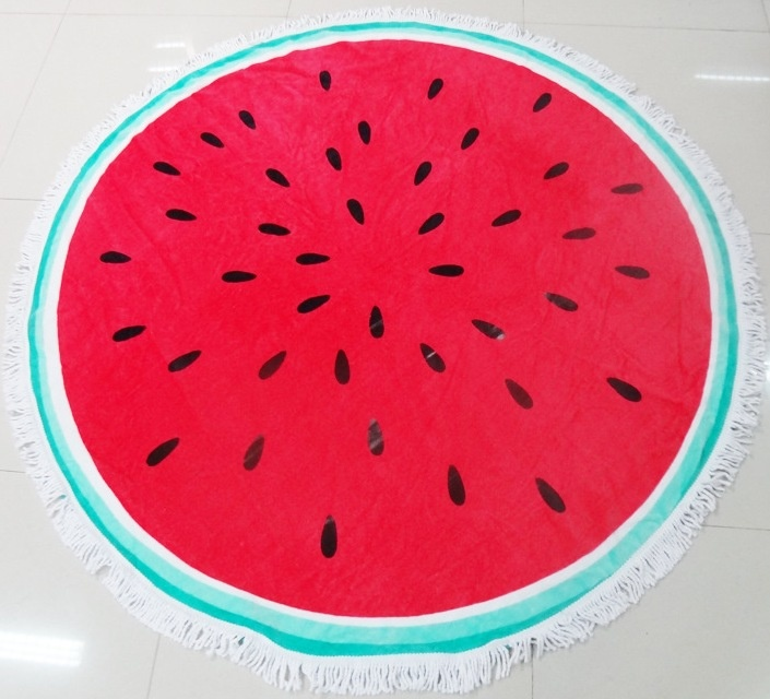100% Cotton Wholesale Velvet Reactive Printing Customized Circular Round Beach Towels