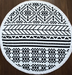 100% Cotton  / Microfiber Printed Round Beach Towels With Tassels Fringe