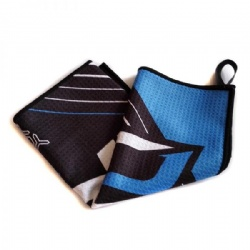personalized waffle microfiber golf towel with a loop for hanging