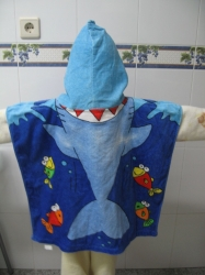 Childrens poncho kids hooded towel Velour reactive printed